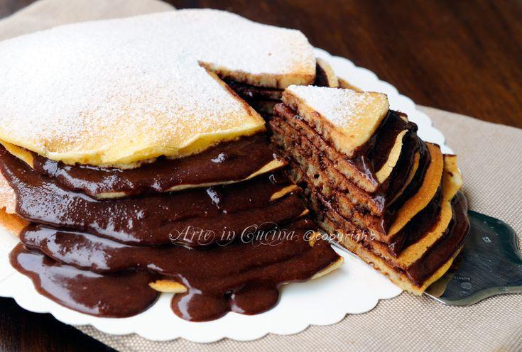 Torta di pancake con nutella ricetta colazione