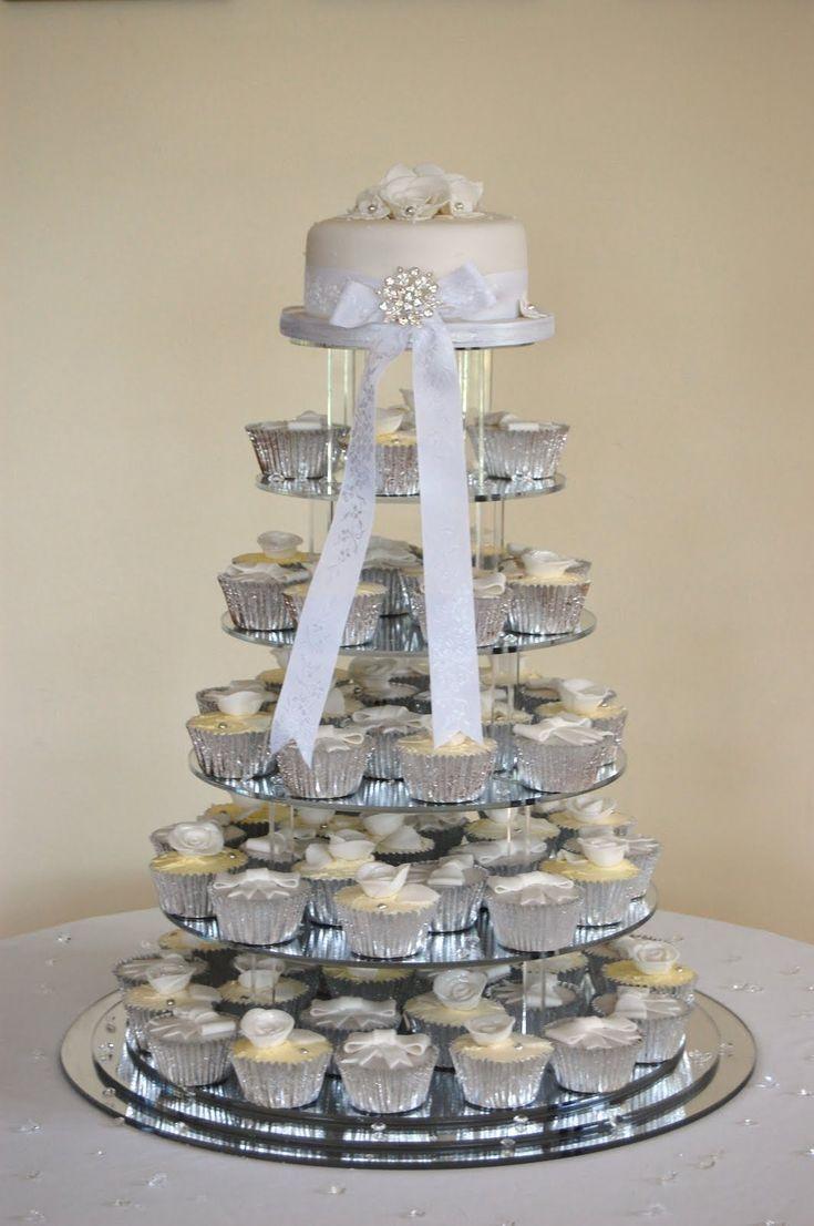 Silver wedding cupcakes
