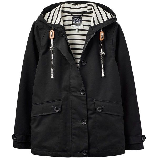 Joules Right as Rain Coast Waterproof Jacket , Black ($105) ❤ liked on Polyvore featuring outerwear, jackets, black, water resistant hooded jacket, embroidered jacket, snap jacket, jersey jacket and print jacket