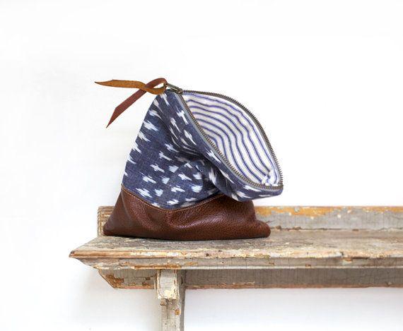 Tribal print leather clutch purse indigo blue women's bag by eclu, $139.00