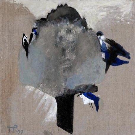Drzewo i sroki,  1999, technika własna, 50x50cm