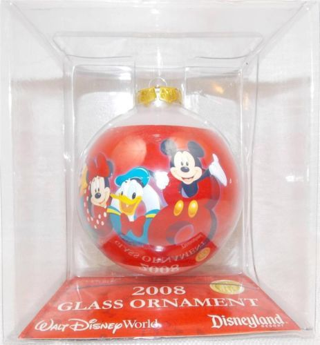 Disney-World-Parks-2008-Mickey-and-Friends-Glass-Christmas-Holiday-Ornament-New