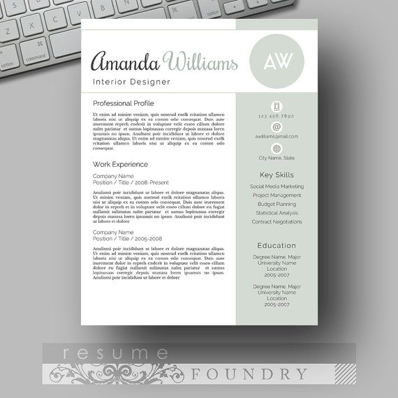 Modern Resume Template / CV Template + Cover Letter for MS Word | Creative Resume Design |  Professional Resume | Instant Download |