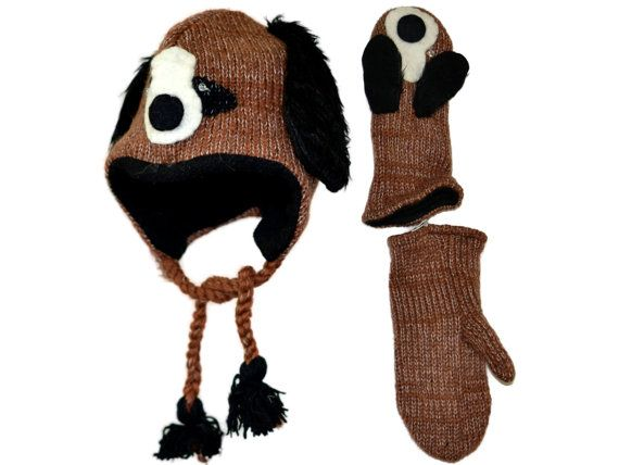 Brown puppy dog animal knit hat with mittens set by HatsMittensEtc