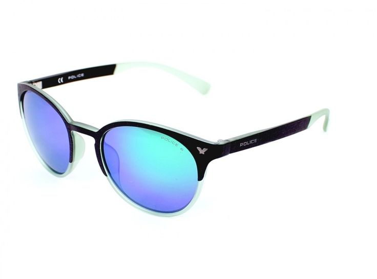 Police GAME 6 SPL162 6PCV (Black - Transparent Green with Plum polarised with Green mirror effect lenses). Female style. Frame material: Plastic. Manufacturer reference: SPL162 6PCV. Primary frame color: Black, secondary color: Transparent Green. Polarized Plum with Green mirrored style lens.