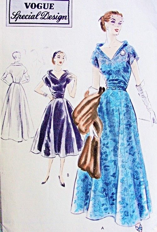 1950s Beautiful Evening Dress Pattern Vogue Special Design 4249 Cocktail or Formal Lengths 6 Gore Skirt Flattering Low Shaped Neckline With Bias fold Collar Stunning Style Bust 32 Vintage Sewing Pattern FACTORY FOLDED