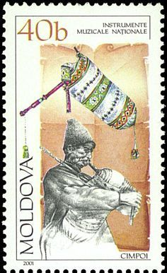 Stamp No. 129: Moldava (Romania). The Cimpoi is a very old pipe, and until recently thought by many to be extinct.