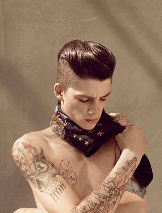 Goth guys with half shaved head | Half-Shaved Pompadours