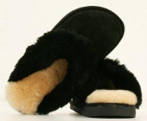 56.43$  Watch now - http://vihqk.justgood.pw/vig/item.php?t=lv957e51161 - NEW OLD FRIEND Footwear Ladies Sheepskin Wool Women's Scuff Slippers NIB Black