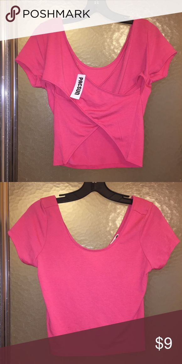 NWT Pacsun Hot Pink Crop Top Hot pink crop top, with criss cross back. Would be great for spring! PacSun Tops Crop Tops