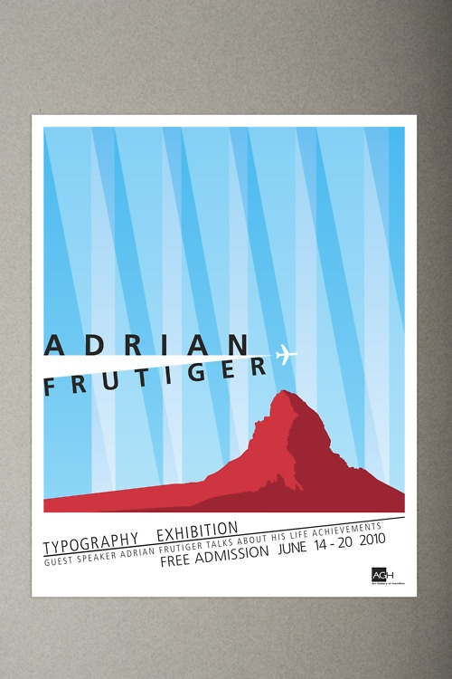 Type poster design on Adrian Frutiger by Jon Barnes