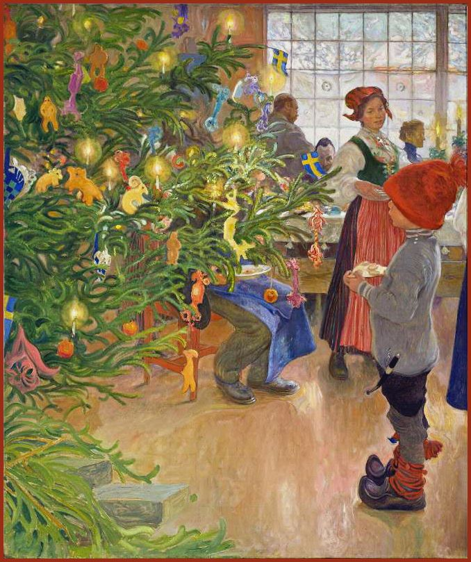 "Carl Larsson ""Now It's Christmas Time Again"" or ""Christmas Eve in Sundborn"" (detail) 1907  'The artist's six year old son, Esbjorn is gazing at the Christmas tree, while his father has his back turned and looking out the window.'"