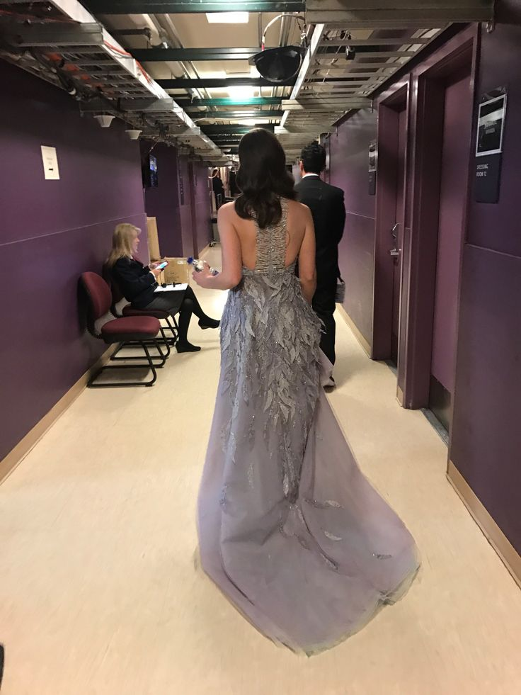 Oscars 2017: Sara Bareilles's Oscars Photo Diary  Ran backstage to change dresses for the In Memoriam performance. It's kinda my thing to show you the back first, so...