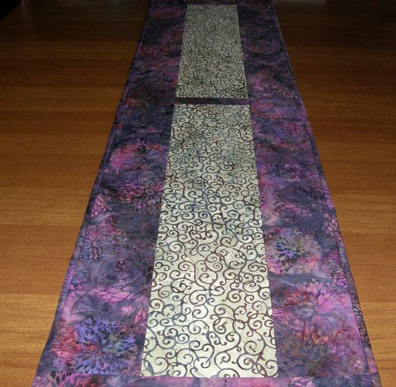 Purple Raspberry Green Quilted Table Runner by HollysHutch on Etsy