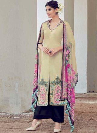 Beige Navy Blue Embroidery Work Print Pakistani Cotton   Palazzo Designer Suit http://www.angelnx.com/Salwar-Kameez/Pakistani-Suits