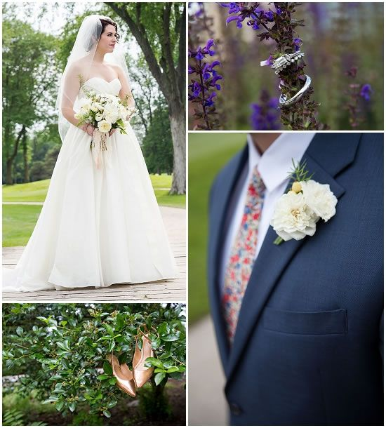 The bride's dress cost $800 and the groom's suit was $350. See the full $22K cost breakdown here: http://www.marriedinmilwaukee.com/tripoli-country-club Photos by Shannon Wucherer Photography