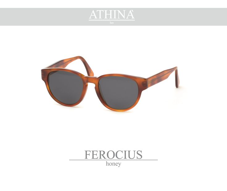 Mod. FER0303S02 Sunglasses with a rounded shape, totally made in honey acetate. Provided with non-glare standard grey lenses.