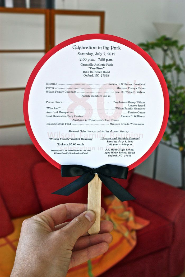 The Wilson Family prints its daily itinerary on a paper fan so family members can be aware of what's going on while staying comfortable in the July heat.