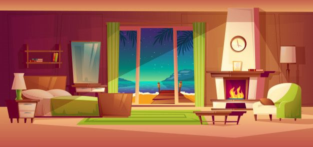 Download Night Panorama Of Villa Interior Window With Seaside