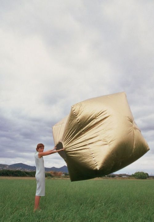 Basic House by Martín Azúa  The collapsible, pocket-sized, sustainable, glittering gold house inflates with either body heat, or the sun, and is reversible to deflect solar gain.