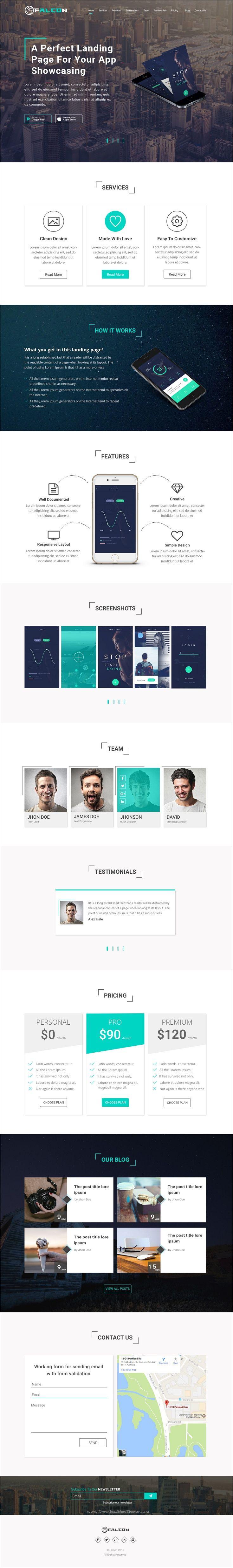 Falcon is clean and unique design #PSD template for #app showcase landing page website download now➩ https://themeforest.net/item/falcon-mobile-app-landingpage/19496090?ref=Datasata