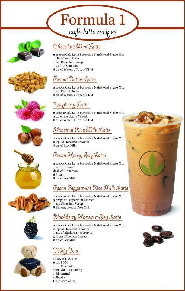 Try these YUMMY Herbalife Formula 1 CAFFE LATTE/ CAPPUCINO Shake recipes! If youre out of Formula 1 supply... ORDER TODAY! INDEPENDENT HERBALIFE DISTRIBUTOR http://www.GoHerbalife.com/herbafabulous24/en-US