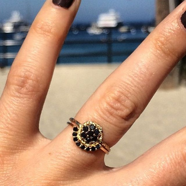 Atreyu ring with black diamonds in 14k yellow gold and contour wedding band (not ours) on @beedotj