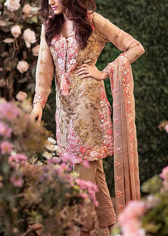 Buy Light Brown Embroidered Chiffon Dress by Mina Hasan 2015.