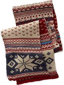 Fair Isle Sweater-Knit Scarves