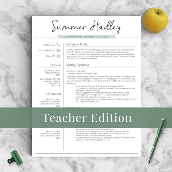 teacher resume template for word and pages cover letter writing guide 1