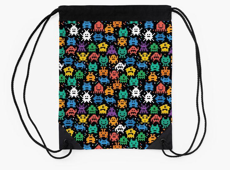 Pixelated Emoji Monster Pattern Illustration by Gordon White | Emoji Monster Flat Drawstring Bag Available @redbubble --------------------------- #redbubble #emoji #emoticon #smiley #faces #cute #addorable #pattern #drawstring #bag