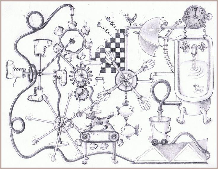 rube goldberg technical drawing