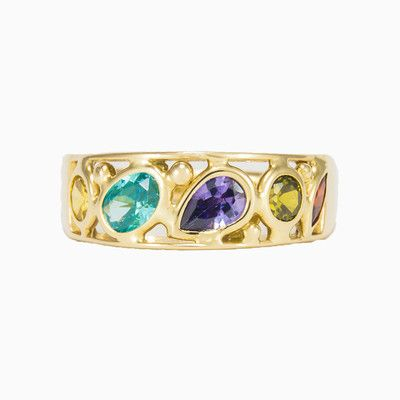 This pretty Mosaico band ring is made entirely by hand in 14k gold with colour stones of different shapes and sizes.