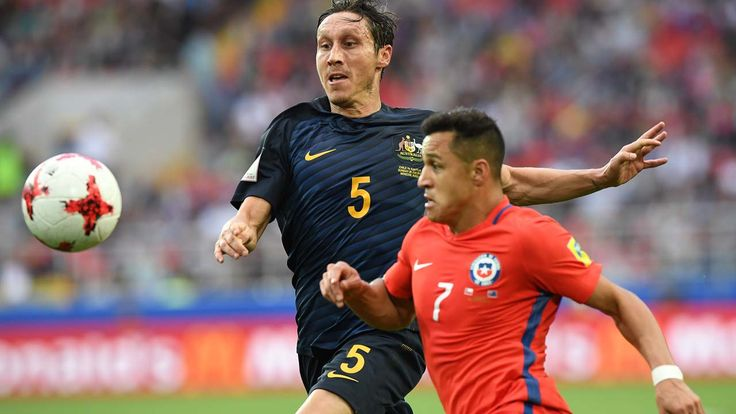 Confederations Cup:Chile meet Portugal in semi-final   By AFP      Australia's midfielder Mark Milligan (L) vies with Chile's forward Alex...