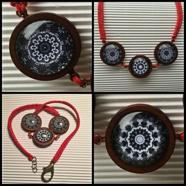 Mandala necklace black&white  Red plait