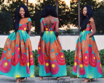 ON SALE African dressgathered dress African clothing by JENNYROSSY