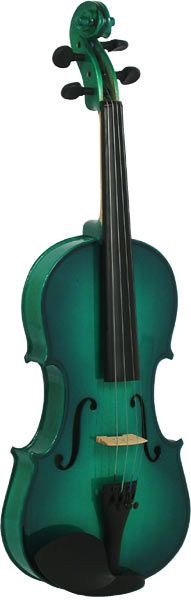 Metallic green finish violin outfit, Solid spruce top, maple body.