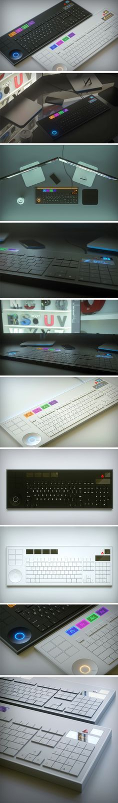 If you work with the Adobe Creative Suite, then it's no surprise that you've dreamt of a keyboard devoted to your creative needs. Vinicius Araújo has designed a gorgeous keyboard to aid in the transition between each program, saving the user hours of switching between Photoshop to Indesign to Illustrator to Lightroom. Accented with stylish LED colors and eye-catching material changes, the Adobe Keyboard is the designers' must have.