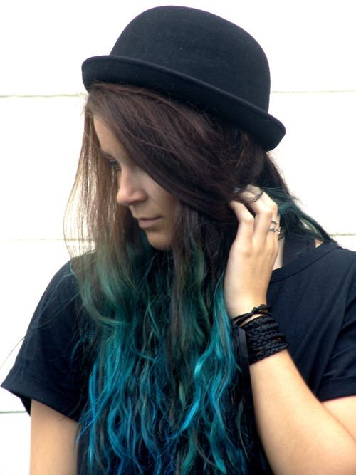turquoise/blue dip dye/ombre hair | LUUUX