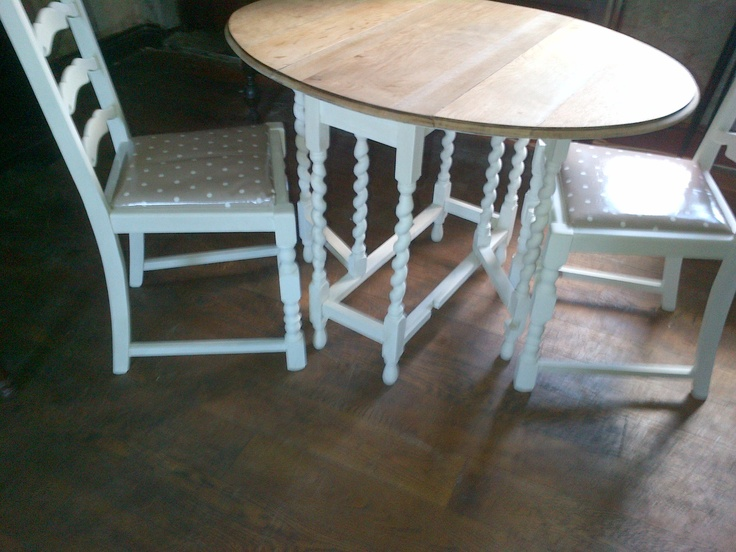 Oak Barley Sugar Twist Breakfast Table and Chairs in Annie Sloan Old White with Clarke & Clarke Dotty Taupe Fabric - Stock Item bespoke painted for the client