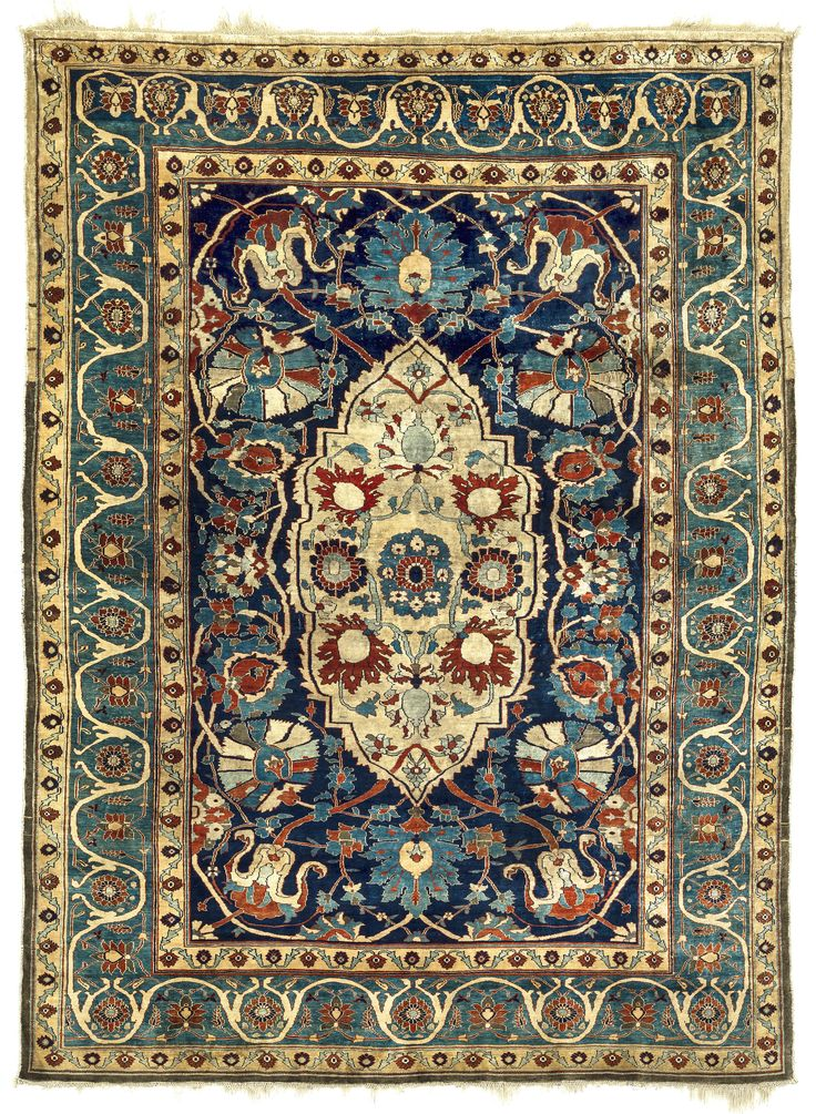 Heriz or Tabriz silk rug, northwest Persia, 19th century ...
