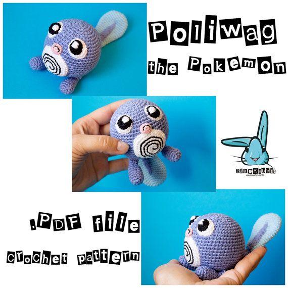 Amigurumi Poliwag the Pokemon crochet pattern. Pokemon toy pattern. Tiny toy…