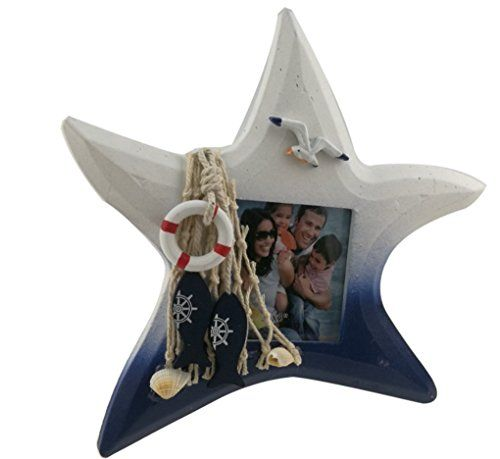 """Blue and White Mediterranean Nautical Style Decorative Starfish Anchor Fish Shell Seagull Sailboat Pattern Wooden Photo Picture Frame Housewarming Holiday Gift (Starfish)  Made from wood.3 Shapes for you to choose: Starfish/Shell/Fish.Fits photo measures 7.6*7.6cm/3*3""""  Mediterranean style.Blue and White Color.With strong mediterranean sea amorous feelings.Great nautical decoration.  Add some starfish,shell,anchor,seagull,sailboat and fishing net on the frame to embellish  Easy to inst..."""