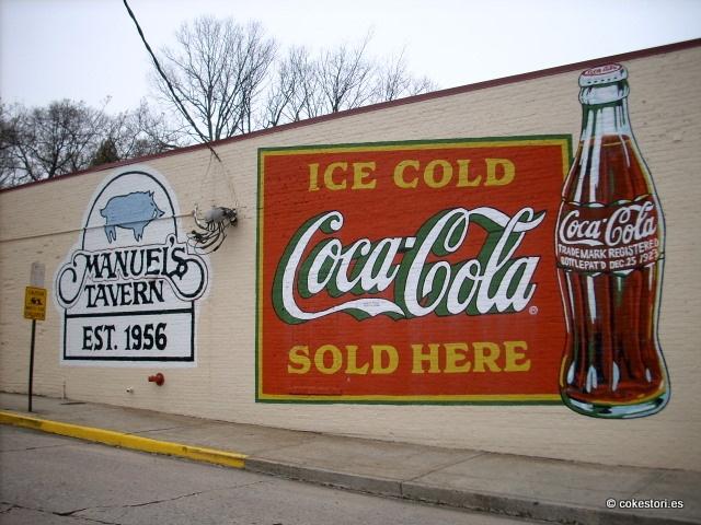 Painted wall sign at Manuel's Tavern in Atlanta, Georgia