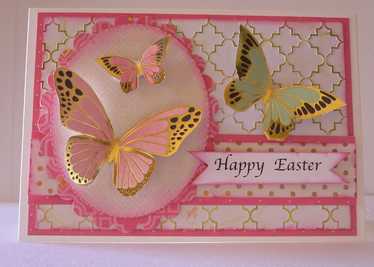 """""""Easter"""" Card 3 by Adriana Bolzon using Kaisercraft  'All that Glitters' Collection and Embossing Folder EF202 Lattice - Wendy Schultz ~ Easter - Cards, Crafts + Decor."""
