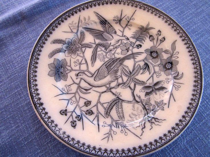 Antiker Teller Villeroy+Boch Mettlach  Dekor Fasan Blaumalerei
