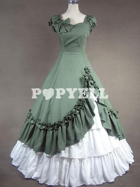 #lolita #robe #classique Robe de lolita classique Noeud Coton Verte et Blanche Marine a prix pas cher chez Popyell.com