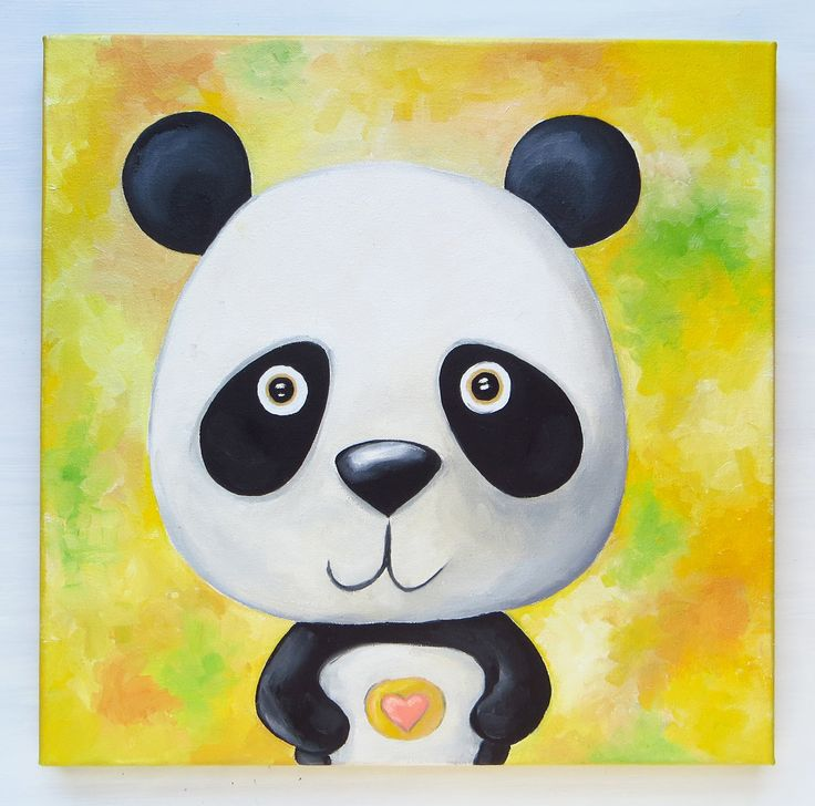 Little Panda, Original Art, Wild Animals, Cute Little Bear, Hand Painted, Square Canvas, 30x30 cm, Panda Lovers, Oil on canvas, MikiMayo by MikiMayoShop on Etsy