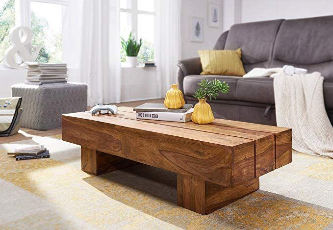 Wohnling Couchtisch Sira Massiv Holz Sheesham 120 Cm Dunkel