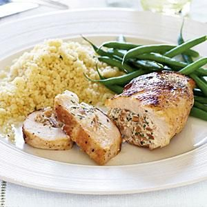 Almond-Stuffed Chicken | MyRecipes.comSuper easy and delicious! I slice the breasts in half to make them thinner or you can use breast filets but they're more expensive.